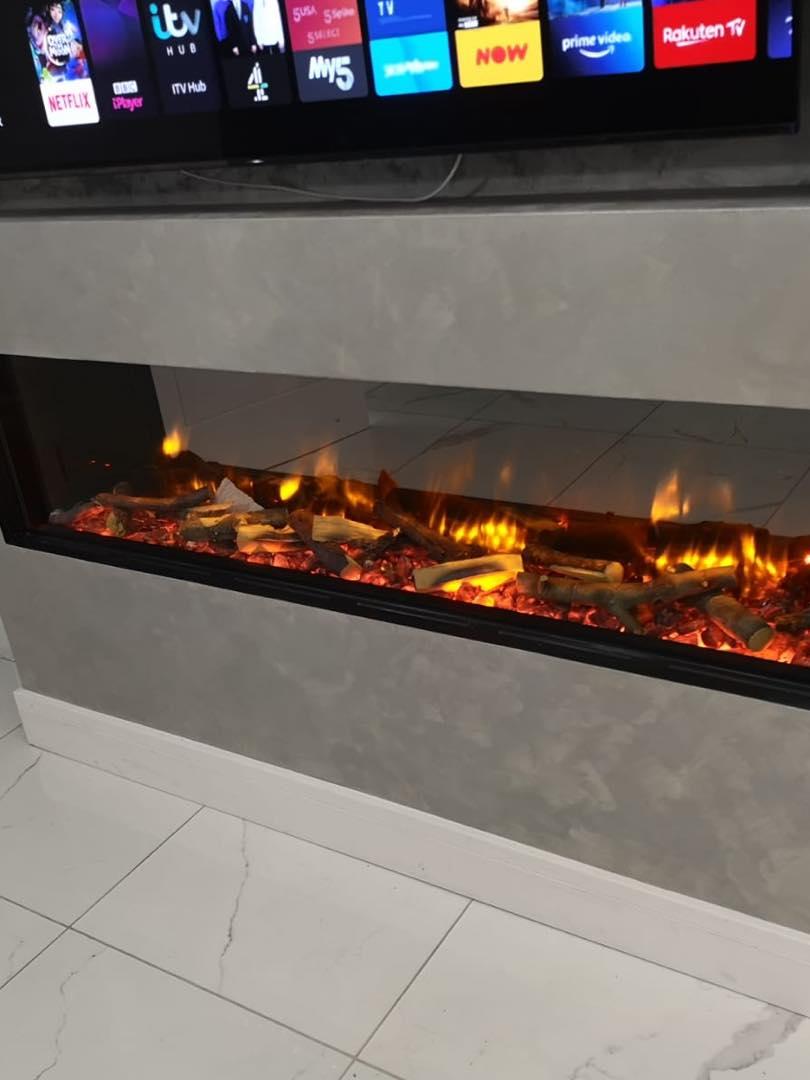 Venetian Plaster Cheshire - Luxury fireplace tv wall by Venetian Plastering North West