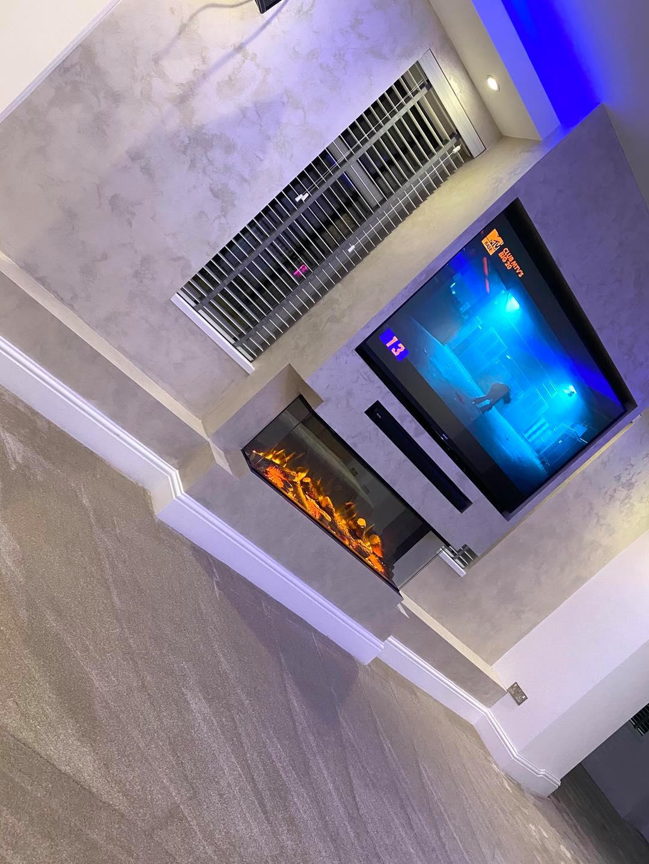 Venetian Plaster Interior Design Manchester Cheshire - Venetian Plastering North West. - Luxury TV light wall