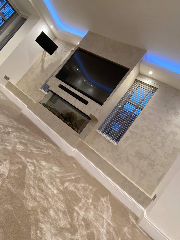 Venetian Plaster Interior Design Manchester Cheshire - Venetian Plastering North West. - Luxury TV wall finish