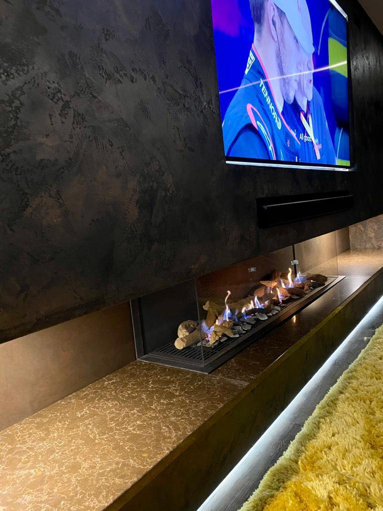 Venetian Plaster Interior Design Manchester Cheshire - Venetian Plastering North West. - Luxury TV wall fireplace