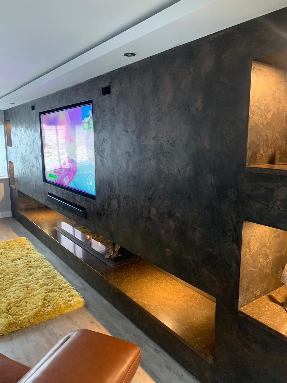Venetian Plaster Interior Design Manchester Cheshire - Venetian Plastering North West. - Luxury TV wall