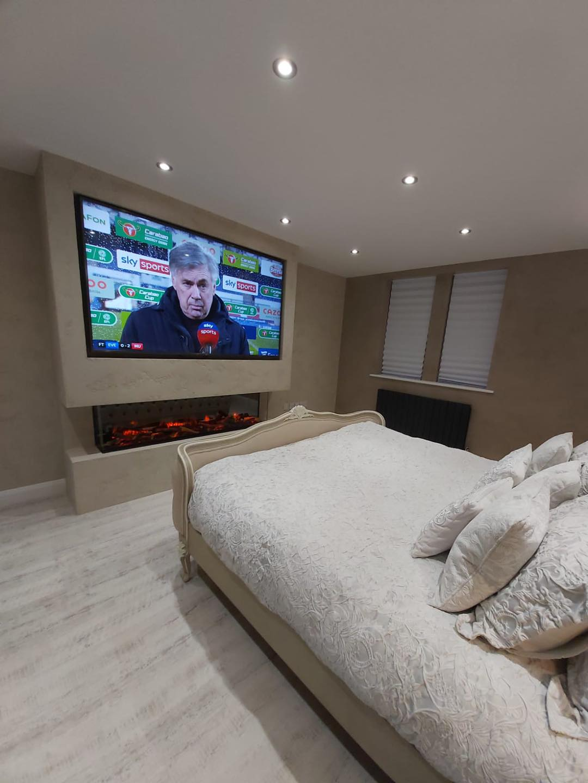 Venetian Plaster Interior Design Manchester Cheshire - Venetian Plastering North West. - Luxury bedroom TV wall