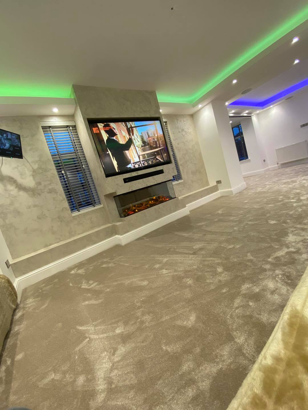 Venetian Plaster Interior Design Manchester Cheshire - Venetian Plastering North West. - Luxury pearl TV wall