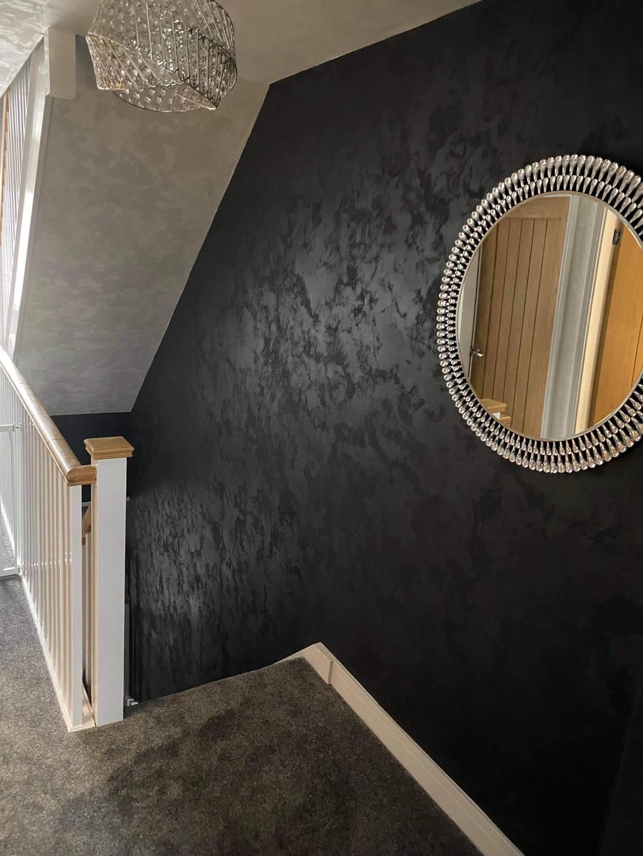 Venetian Plastering North West - Venetian Plaster black staircase Manchester Cheshire June 2021