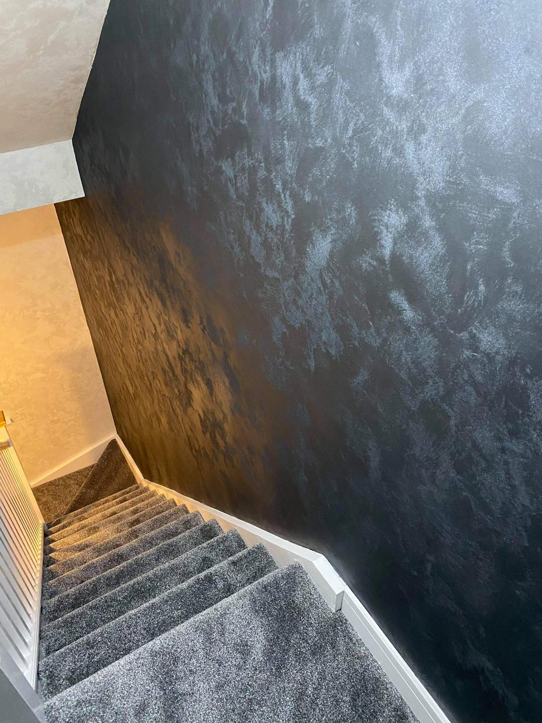 Venetian Plastering North West - Venetian Plaster stairs Feature Wall Manchester Cheshire June 2021